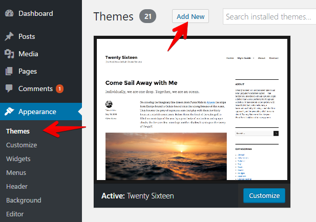 Wordpress theme install dialog